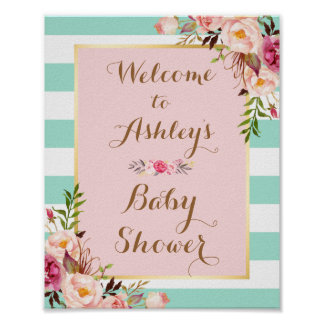 Baby Shower Sign Pink Floral Mint Green Stripes Poster
