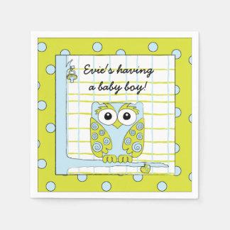 Baby Shower Standard Cocktail Napkin Blue Owl Disposable Napkins