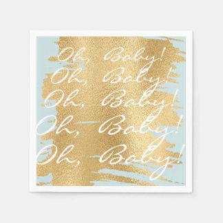 Baby Shower Standard Napkins/Classic Gold/Blue Paper Napkins