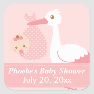 Baby Shower - Stork Delivers Cute Baby Girl Square Sticker