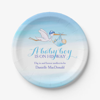 Baby Shower stork delivery baby boy art plate