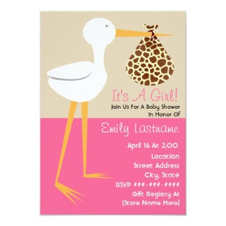 Baby Shower - Stork With Giraffe Print Bundle 5x7 Paper Invitation Card