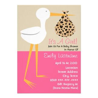 Baby Shower - Stork With Leopard Print Bundle Custom Invites