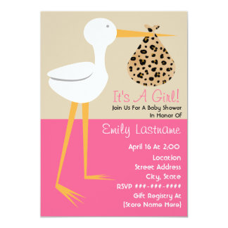 Baby Shower - Stork With Leopard Print Bundle 5x7 Paper Invitation Card