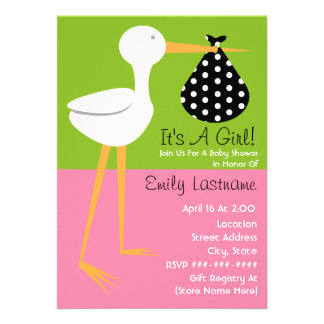 Baby Shower - Stork With Polka Dot Bundle Personalized Announcement