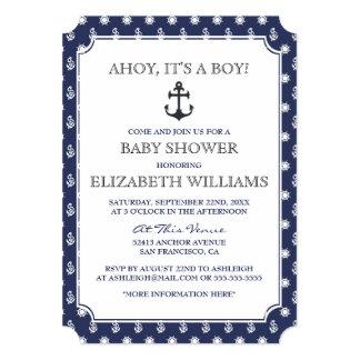 Baby Shower | Stylish Formal Navy Nautical Anchor 13 Cm X 18 Cm Invitation Card