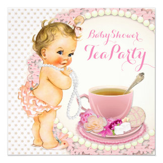 Baby Shower Tea Party 13 Cm X 13 Cm Square Invitation Card