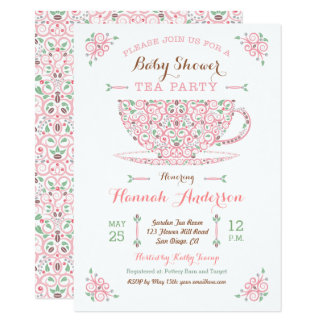 Baby Shower Tea Party- Baby Girl II Invitation