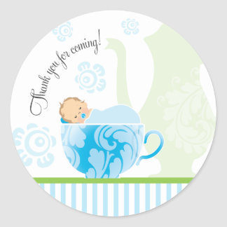 Baby Shower Tea Party Favor Sticker  |  Boy