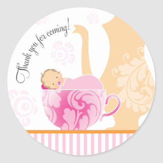Baby Shower Tea Party Favor Sticker  |  Girl