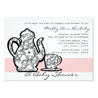 Baby Shower Tea with Changable Color 13 Cm X 18 Cm Invitation Card