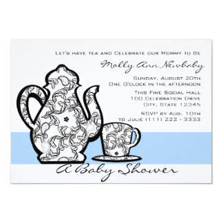 Baby Shower Tea with Changable Color 13 Cm X 18 Cm Invitation Card