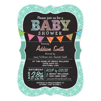 Baby Shower; Teal Cirles with Bunting Invitation
