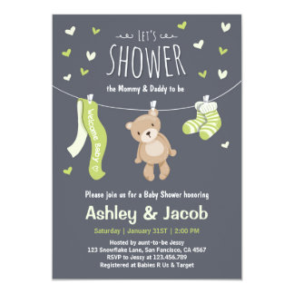 Baby Shower Teddy Bear Invitation Lime Green