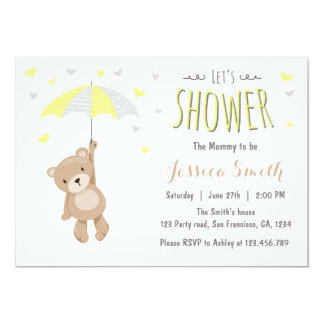 Baby Shower Teddy Bear Invitation Yellow Neutral