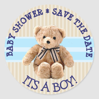 Baby Shower Teddy Bear Save the Date Sticker
