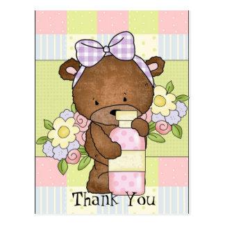 Baby Shower thank you bear postcard
