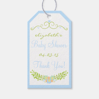 Baby Shower Thank You Blue Floral Wreath Gift Tags