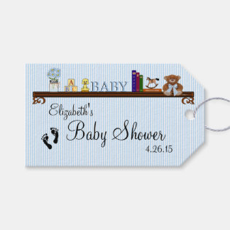 Baby Shower Thank You Blue Stripes Toys on Shelf Gift Tags
