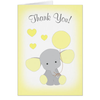 Baby Shower Thank You Card Elephant Yellow Gray