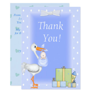 Baby Shower Thank You Card Stork blue