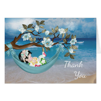 Baby Shower Thank You Card with Baby in Hammock