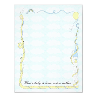 Baby Shower Thank You Card, Yellow/Blue Castle 11 Cm X 14 Cm Invitation Card