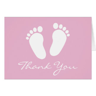Baby Shower thank you cards with cute footprints