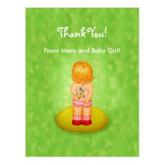 Baby Shower Thank You Cute Girl Flower Bouquet Postcard