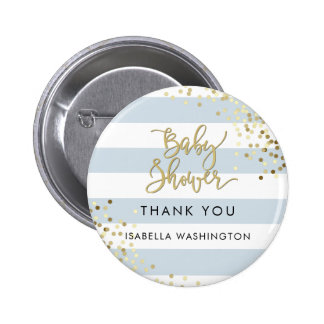 Baby Shower Thank You Gold Calligraphy & Confetti 6 Cm Round Badge