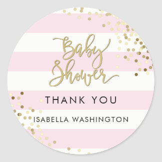 Baby Shower Thank You Gold Calligraphy & Confetti Classic Round Sticker