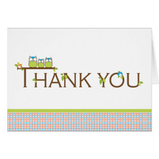 Baby Shower Thank You  |  Mom, Dad and Baby Owl Card