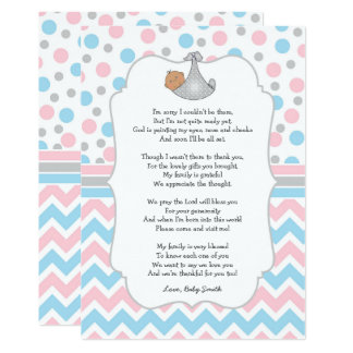 Baby Shower Thank you note, medium skin blue eyes Card