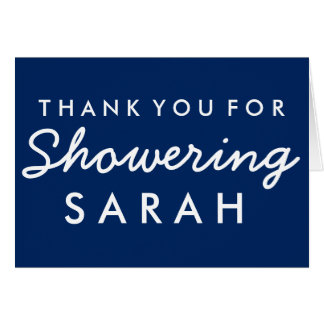Baby Shower Thank you Note - Navy Blue White Card