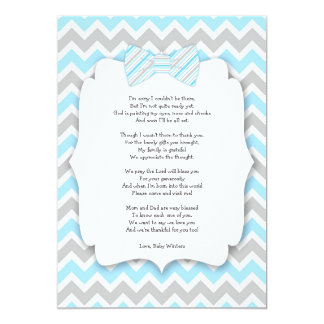 Baby shower thank you notes with poem blue gray 13 cm x 18 cm invitation card