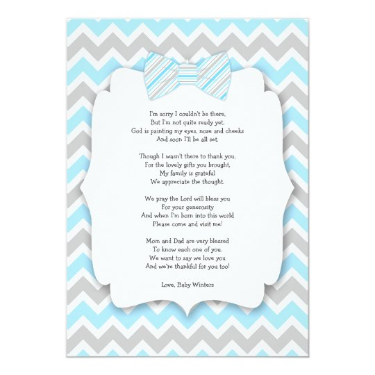 Baby Shower Thank You Notes With Poem Blue Grey Card  ZazzleComAu