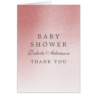 Baby Shower Thank You | Ombre Rose Gold Glitter Card