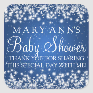Baby Shower Thank you Winter Sparkle Blue Square Sticker