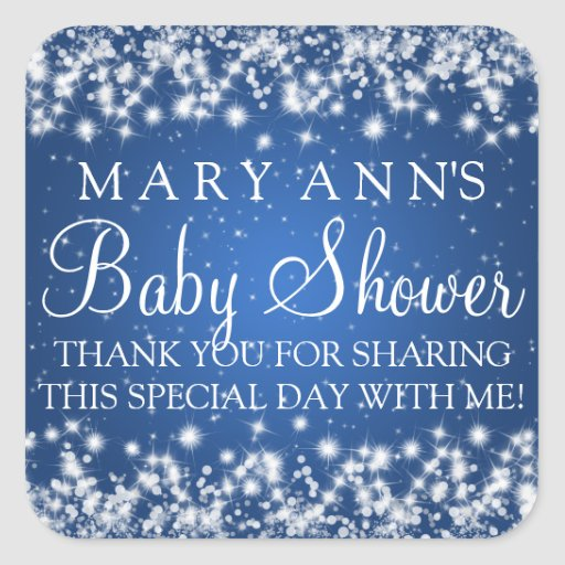 Baby Shower Thank you Winter Sparkle Blue Square Stickers