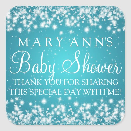 Baby Shower Thank you Winter Sparkle Turquoise Square Sticker