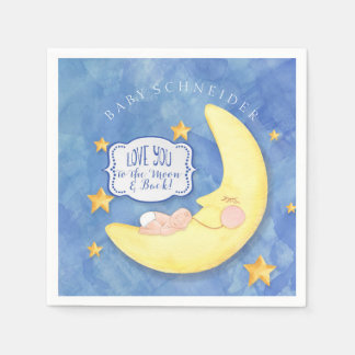 Baby Shower To The Moon and Back Stars Typography Paper Serviettes