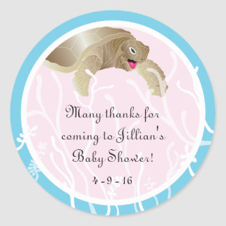 """Baby Shower """"Turtle/Pink"""" Stickers 1 1/2"""" or 3"""""""