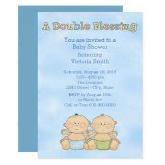 Baby Shower Twin Boys Card