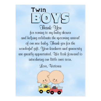 Baby Shower Twin Boys Postcard