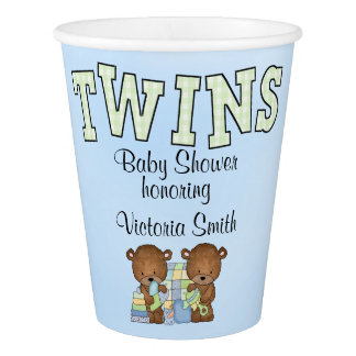 Baby Shower Twin Boys Teddy Bear Paper Cup