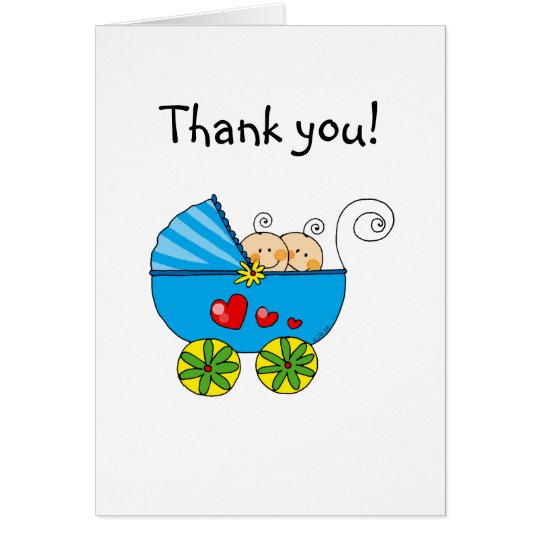 Baby shower twin boys thank you card
