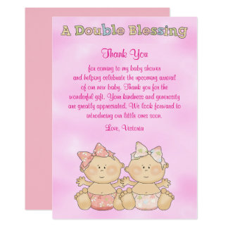 Baby Shower Twin Girls Card