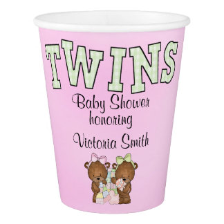 Baby Shower Twin Girls Teddy Bear Paper Cup