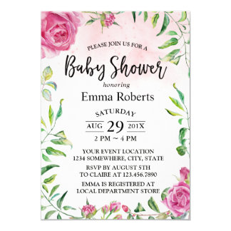 Baby Shower Vintage Floral Elegant Watercolor Card