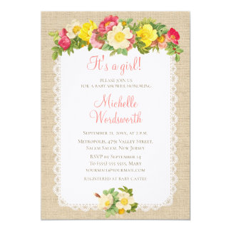 Baby Shower Vintage Floral Linen Rustic Invitation